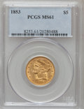 Liberty Half Eagles: , 1853 $5 MS61 PCGS. PCGS Population (17/47). NGC Census: (30/47).Mintage: 305,770. Numismedia Wsl. Price for problem free N...