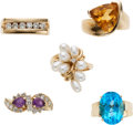 Estate Jewelry:Rings, Multi-Stone, Diamond, Cultured Pearl, Gold Rings . . ...