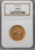 Liberty Eagles: , 1874 $10 AU58 NGC. NGC Census: (130/72). PCGS Population (33/40).Mintage: 53,160. Numismedia Wsl. Price for problem free N...