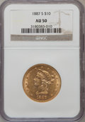Liberty Eagles: , 1887-S $10 AU50 NGC. NGC Census: (6/1247). PCGS Population(10/939). Mintage: 817,000. Numismedia Wsl. Price for problem fr...