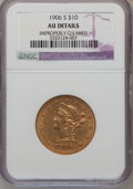Liberty Eagles, 1906-S $10 --Improperly Cleaned--NGC Details. AU. NGC Census:(16/497). PCGS Population (10/324). Mintage: 457,000. Numismed...
