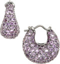 Estate Jewelry:Earrings, Pink Sapphire, Gold Earrings. ...
