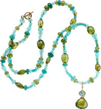 Apatite, Tourmaline, Gold Necklace