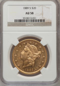 Liberty Double Eagles: , 1889-S $20 AU58 NGC. NGC Census: (220/1416). PCGS Population(207/1442). Mintage: 774,700. Numismedia Wsl. Price for proble...