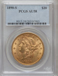 Liberty Double Eagles: , 1890-S $20 AU58 PCGS. PCGS Population (215/973). NGC Census:(315/1197). Mintage: 802,750. Numismedia Wsl. Price for proble...