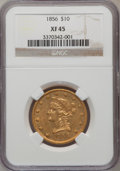Liberty Eagles: , 1856 $10 XF45 NGC. NGC Census: (38/247). PCGS Population (23/123).Mintage: 60,490. Numismedia Wsl. Price for problem free ...