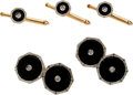 Estate Jewelry:Cufflinks, Art Deco Diamond, Onyx, Platinum, Gold Dress Set, Larter &Sons. ...