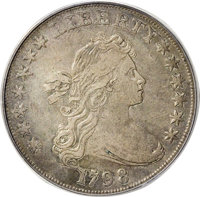 1798 $1 Large Eagle, Wide Date XF40 PCGS. B-16, BB-110, Low R.6. This is a rare die variety, and one that seldom crosses...