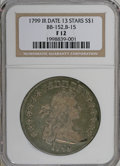 Early Dollars: , 1799 $1 Irregular Date, 13 Stars Reverse Fine 12 NGC. B-15, BB-152,R.3. Blended sea-green an...