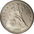 Seated Dollars: , 1845 $1 MS60 PCGS. One of just 24,500 examples coined, the 1845 issignificantly more elusive...