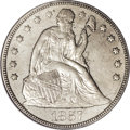 Seated Dollars: , 1857 $1 MS62 PCGS. The fields are distinctly reflective beneathgolden-gray toning, and the r...