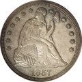 Proof Seated Dollars: , 1857 $1 PR62 PCGS. A pleasing example with moderate steel-graypatina, somewhat milky in the ...