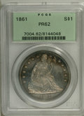 Proof Seated Dollars: , 1861 $1 PR62 NGC. Moderately reflective and hazy with zones oforange and blue-green at the r...