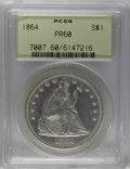 Proof Seated Dollars: , 1864 $1 PR60 PCGS. Deeply reflective fields and showing modestcontrast with the lightly fros...