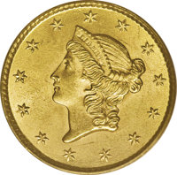 1853 G$1 MS65 PCGS. An incredible Type One gold dollar that would be equally at home in a fine date set or a Gem-level t...