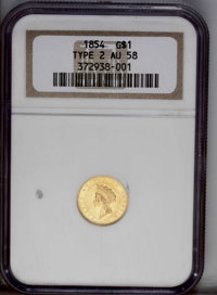 1854 G$1 Type Two AU58 NGC. Luster dominates the legends and device outlines. Crisply struck for the type. The hair and...