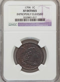 Large Cents, 1794 1C Head of 1795--Improperly Cleaned--NGC Details. XF. NGCCensus: (35/178). PCGS Population (39/115). Mintage: 918,521...