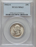 Washington Quarters: , 1932-S 25C MS63 PCGS. PCGS Population (891/1091). NGC Census:(481/624). Mintage: 408,000. Numismedia Wsl. Price for proble...