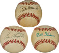 Baseball Collectibles:Balls, Bob Gibson, Stan Musial and Enos Slaughter Single Signed Baseballs Lot of 3....