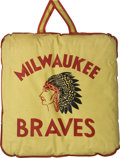 Baseball Collectibles:Others, 1950's Milwaukee Braves Seat Cushion....