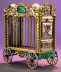 Silver Smalls:Other , A TIFFANY & CO. SILVER AND ENAMEL LION CAGE DESIGNED BY GENEMOORE . Made in Italy for Tiffany & Co., New York, New York,ci...