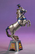 Silver Smalls:Other , A TWO PART TIFFANY & CO. SILVER AND ENAMEL CIRCUS HORSE ANDPLINTH DESIGNED BY GENE MOORE . Made in Italy for Tiffany &Co.,... (Total: 2 Items)