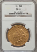 Liberty Double Eagles: , 1861 $20 VF35 NGC. NGC Census: (29/2535). PCGS Population(31/1341). Mintage: 2,976,453. Numismedia Wsl. Price for problem...