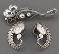 Estate Jewelry:Earrings, A PAIR OF GEORG JENSEN SILVER EARRINGS AND BROOCH . Georg Jensen,Inc., Copenhagen, Denmark, circa 1950. Marks: GEORG JENS...(Total: 3 Items)