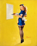 "Pin-up and Glamour Art, GIL ELVGREN (American, 1914-1980). ""Everything Seems AwfullyHigh Around Here!,"" 1946. Oil on canvas. 30 x 24 in.. Signe..."