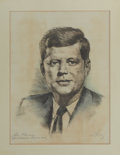 Political:Textile Display (1896-present), John F. Kennedy: Hand-colored Original Etching on Silk....