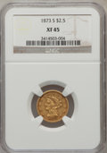 Liberty Quarter Eagles: , 1873-S $2 1/2 XF45 NGC. NGC Census: (54/158). PCGS Population(30/67). Mintage: 27,000. Numismedia Wsl. Price for problem f...