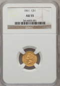 Gold Dollars: , 1861 G$1 AU55 NGC. NGC Census: (35/1160). PCGS Population (82/897).Mintage: 527,499. Numismedia Wsl. Price for problem fre...