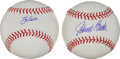 Baseball Collectibles:Balls, Johnny Bench and Yogi Berra Single Signed Baseballs Lot of 2, PSAGem Mint 10....
