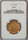 Indian Eagles: , 1913-S $10 XF45 NGC. NGC Census: (73/688). PCGS Population(54/517). Mintage: 66,000. Numismedia Wsl. Price for problem fre...
