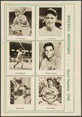 Baseball Cards:Singles (1940-1949), 1947 Sports Exchange Baseball Miniatures Uncut Panel (6) With Gehrig. ...