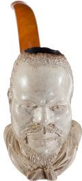 Antiques:Folk Art, Meerschaum Pipe with Bowl in the Form of the Expressive Face of aBearded African American Slave....