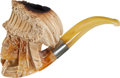 Antiques:Folk Art, Meerschaum Pipe in the Form of a Native American with Elaborate Feathered Headdress and Breastplate....