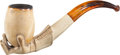 Antiques:Folk Art, Larger Meerschaum Pipe: The Bowl in the Form of a Hand Holding an Egg....