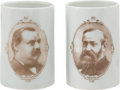 Political:3D & Other Display (pre-1896), Benjamin Harrison and Grover Cleveland: Pair of Mugs.... (Total: 1Pair)