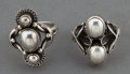 Estate Jewelry:Rings, TWO GEORG JENSEN SILVER RINGS . Georg Jensen, Inc., Copenhagen,Denmark, circa 1950 . Marks: GJ, STERLING, DENMARK, 15, ...(Total: 2 Items)