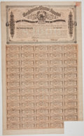 """Military & Patriotic:Civil War, """"CSA Treasury Department"""" Stamped Confederate Bond with 59 of 60 Coupons Attached...."""