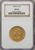 Liberty Eagles: , 1850-O $10 AU50 NGC. NGC Census: (24/67). PCGS Population (18/18).Mintage: 57,500. Numismedia Wsl. Price for problem free ...