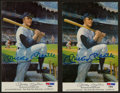 Baseball Collectibles:Others, Mickey Mantle Signed Postcards Lot of 2....