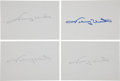 Football Collectibles:Others, Johnny Unitas Signed Index Cards Lot of 4....