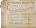 Autographs:Statesmen, Benjamin Franklin Document Signed as Governor of Pennsylvania....