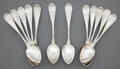 Silver Flatware, American:Other , TWELVE PETER KRIDER DESSERT SPOONS . Peter L. Krider, Philadelphia,Pennsylvania, circa 1870. Marks: P.L.K. . 5-5/8 inch...(Total: 12 Items)