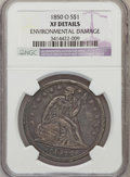 Seated Dollars: , 1850-O $1 -- Environmental Damage -- NGC Details. XF. NGC Census:(8/85). PCGS Population (27/81). Mintage: 40,000. Numisme...