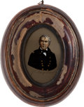 Political:3D & Other Display (pre-1896), Zachary Taylor: Reverse Painting on Glass....
