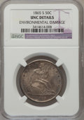Seated Half Dollars, 1865-S 50C -- Environmental Damage -- NGC Details. Unc. WB-101....