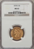 Liberty Half Eagles, 1878-S $5 MS62 NGC....